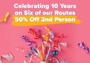 50% Off Second Person On Selected Routes