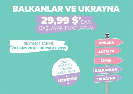 Balkanlar ve Ukrayna 29,99 USD'den Başlayan Fiyatlarla