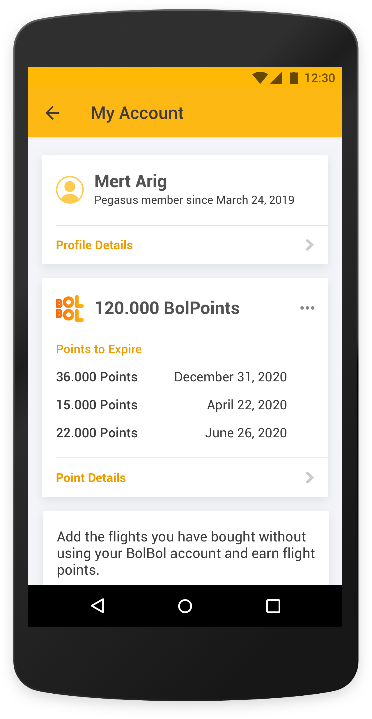 pegasus airlines mobile app account page